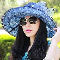 PLKOI SombrerosLa Sra.VeranoSombrero Para El SolLa Sra.Gorras De PlayaTapa De RadiadorSombreros Al Aire LibreSombrero Para El Sol,Blue