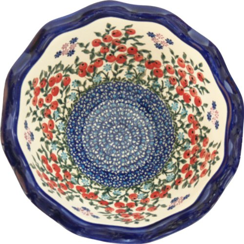 Polish Pottery Ceramika Boleslawiec 0413/282 Royal Blue Patterns 5-3/4-Cup Fala Bowl, Small, Red Berries and Daisies Red Berry Bowl