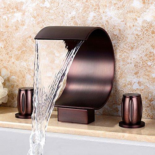 Moderner Wasserfall-Wasserhahn, gebogener Auslauf, für Badezimmer, Waschbecken, 2 Griffe, zur Befestigung an der Deck, mit Ölgummi, Bronze-Finish -