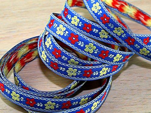 Minerva Crafts Woven Floral Design Jacquard Ribbon Braid Trimming per 2 metres