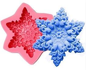 Flybloom Silikonformen Schneeflocke Form DIY Fondant Schokolade Sugarcraft Plätzchenform Kuchen Dekor Backen Werkzeuge Rosa