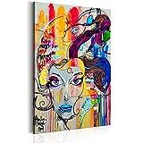 Bilder 60x90 cm - XXL Format - Fertig Aufgespannt – TOP - Vlies Leinwand - 1 Teilig - Wand Bild - Kunstdruck - Wandbild – Poster Frau Gesicht Porträt Blumen bunt Abstrakt - wie gemalt h-B-0042-b-a 60x90 cm