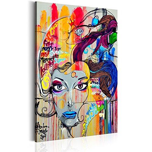 murando - Bilder 80x120 cm Vlies Leinwandbild 1 TLG Kunstdruck modern Wandbilder XXL Wanddekoration Design Wand Bild - Poster Frau Gesicht Porträt Blumen bunt Abstrakt - wie gemalt h-B-0042-b-a - Abstrakte Frau Gesicht