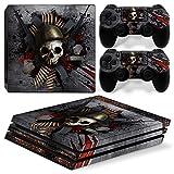 46 North Design Playstation 4 PS4 Pro Folie Skin Sticker Konsole Skull Metal aus Vinyl-Folie Aufkleber Und 2 x Controller folie