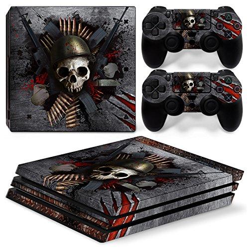 46 North Design Ps4 Pro Playstation 4 Pro Pegatinas De La Consola Skull Metal + 2 Pegatinas Del Controlador 61GwyWwBfVL