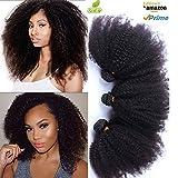 Morningsilkwig Afro Kinky Frisées-Curly Perruques cheveux brésiliens cheveux couleur 1B# Noir naturel Bon Marché Pour Femmes 100 gramme p.Bundle (1Tissage 12inch/30cm 100g, Noir)