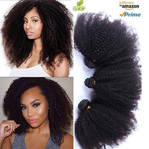 Morningsilkwig capelli ricci afro kink curly capelli ricci brasiliani capelli buon mercato remy capelli extensions (1pezzo 16inch/40cm 100g, nero)