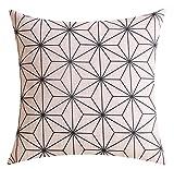 YISUMEI Kissenbezug Kissenhülle 40x40 cm Home Decor Dekokissen Fall Sofa Werfen Kissenbezüge Pillowcases Modernes Geometrisches Design Beige Schwarz