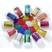 Winko Glitter Shaker Tubes for Crafts and Card Decorations - Assorted Colors (Set of 12)