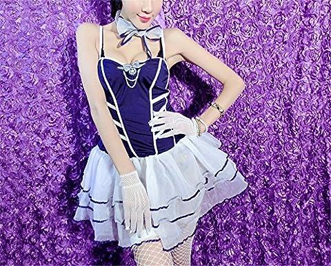 L'extrême tentation Lingerie SM nuit Boutique Passion Dame définis, (80-120 kg) (jupe + gants + petit chapeau + chaussettes net + cravate + thong)