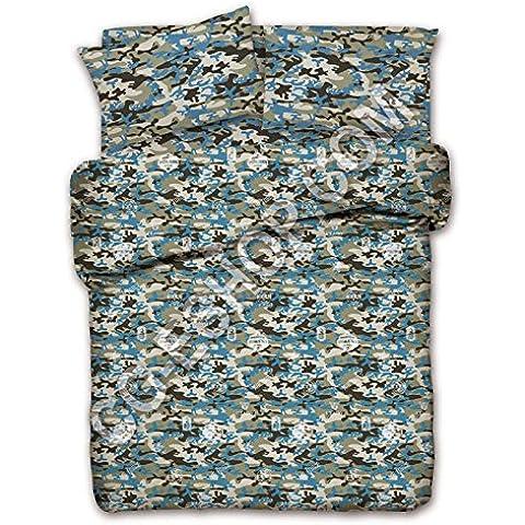 Funda de edredón para cama de matrimonio 2 dos mandos, diseño de camuflaje, color VERDE azul VR 2