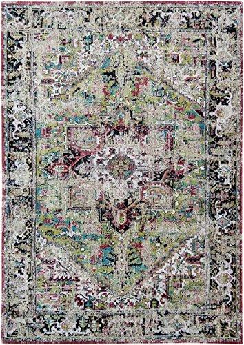 Louis de poortere tappeti designer antiquario heriz 8706avlu verde anticata in stile vintage sbiadito e area rugs, green, 290x390cm - (9'5x12'8)