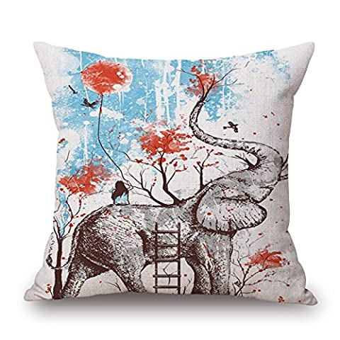 Artistdecor éléphant Couvre-lit Taie d'oreiller 50,8x 50,8cm/50par 50cm pour lit de chaise, assise, bar, Mari, salle de manger, Wife avec double côtés