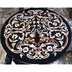 60cm de diámetro de mármol negro mesa de comedor superior Semi Precious incrustaciones de piedra diseño de flores