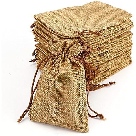 20pcs Bolsa de Organza Arpillera Bolsitas de yute Bolsitas de tela de saco para decorar boda bautizo Fiesta