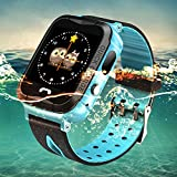 Waterproof Anti-lost Kids Smartwatch, TOP-MAX Smart Bracelet with GPS Tracker Pedometer for Children Girls Boys with Camera SIM Calls SOS Smartwatch Bracelet for iPhone Android Smartphone,Blue