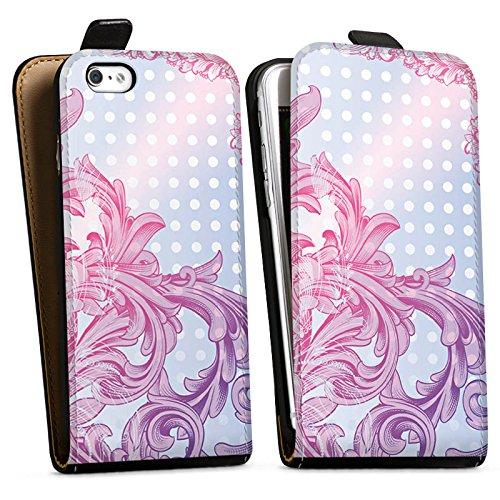 Apple iPhone X Silikon Hülle Case Schutzhülle Punkte Muster Floral Downflip Tasche schwarz