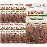 60 Piles Auditives EarPower 312 (Lot de 10 Plaquettes de 6 Piles)/Piles...