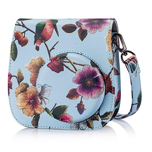 Leebotree Tasche Kompatibel mit Instax Mini 9 / Mini 8 8+ Sofortbildkamera aus Weichem Kunstleder mit Schulterriemen und Tasche (Vogel)
