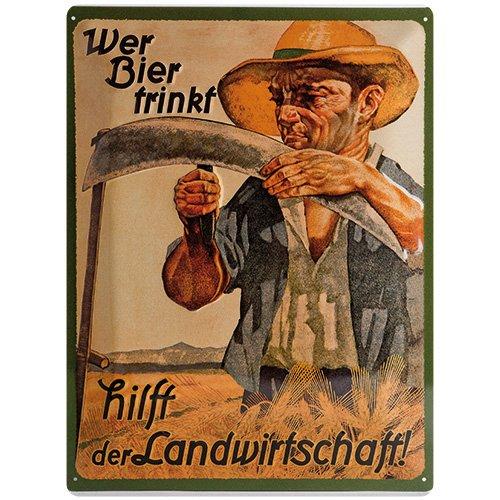 Nostalgic-Art 20393 Open Bar - Wer Bier trinkt hilft der Landwirtschaft, Blechschild 30x40 cm