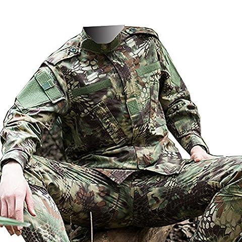 QMFIVE Tactical Mandrake Kryptek Hommes BDU Combat Uniforme Veste T-shirt et Pantalon Suit Woodland Camo pour Guerre Guerre Armée Militaire Paintball Airsoft Hunting Shooting(M)