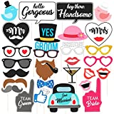 WOBBOX Wedding Photo Booth Party Props, Multi Color (29 Pieces)