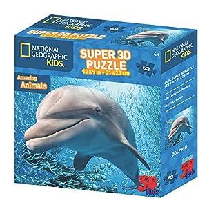 National Geographic NG13565 - Puzle de delfín 3D (63 Piezas)