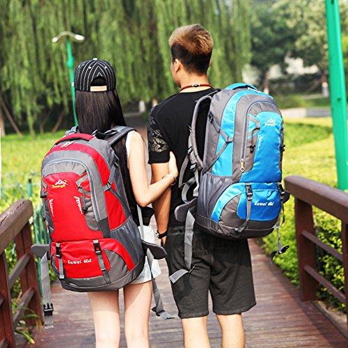 LINGE-Impermeabile Zaini sport ricreativo all'aperto per gli uomini e donne spalla borse da viaggio a piedi zaino per Notebook 60L , red Blue