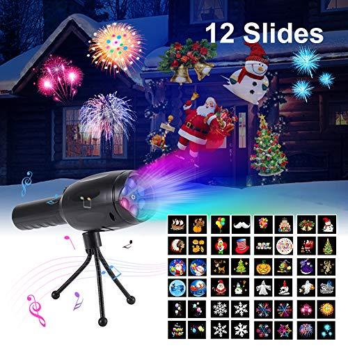 LED Projektor Weihnachtsbeleuchtung, LED Projektionslampemit 12 Motiven, Wasserdicht Geeignet für innen/außen, Dekorationslicht für Weihnachten Halloween Geburtstag und Party