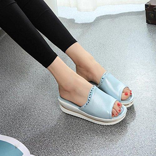 Longra Donna Spesso la suola comode pantofole Azzurro