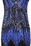 BABEYOND Damen Flapper Kleider voller Pailletten Retro 1920er Jahre Stil V-Ausschnitt Great Gatsby Motto Party Damen Kostüm Kleid (Größe M / UK12-14 / EU 40-42, Blau)