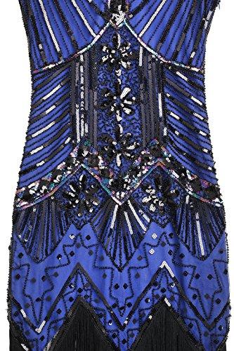 BABEYOND Damen Flapper Kleider voller Pailletten Retro 1920er Jahre Stil V-Ausschnitt Great Gatsby Motto Party Damen Kostüm Kleid Blau