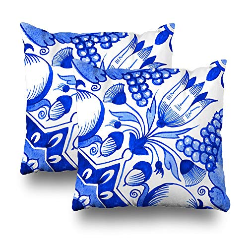 Decorativepillows Case Throw Pillows Covers for Couch/Bed 18 x 18 inch,Delft Watercolor Traditional Dutch Tile Floral Motif Tulips Pomegranates Home Sofa Cushion Cover Pillowcase Gift Delft Blue Tulip