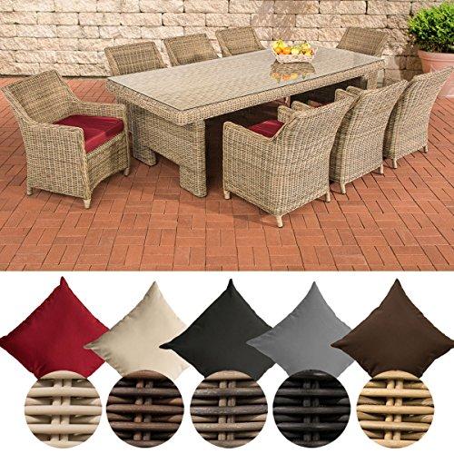 CLP Poly-Rattan Sitzgruppe SANDNES XL, 5 mm RUND-Geflecht (8 Stühle + Tisch ca. 250 x 110 cm) Rattan Farbe natura, Bezugfarbe: Rubinrot