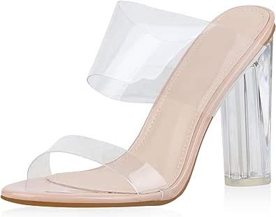 SCARPE VITA Damen Sandaletten Pantoletten mit Blockabsatz Transparent Lack