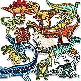 MUSCCCM Bügelflicken Kinder, 15 Stück Patches zum Aufbügeln Dinosaurier Aufnäher Applikation Flicken Zum Aufbügeln für DIY T-Shirt Jeans Kleidung Taschen