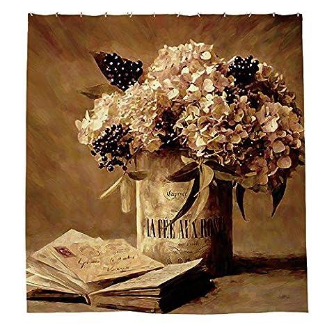 whiangfsoo Retro Blumen in einer Vase Malerei Polyester-Decor-Dusche Vorhang Liner,