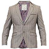 Cavani Herren Blazer Wollmischung Mantel Weste Hose Fischgrätenmuster Tweed NEU - Braun - KALKA/Blazer, Braun - KALKA/Blazer, XS 46, X Small - 36
