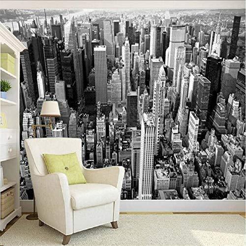 Benutzerdefinierte Wallpaper Wallpaper Schwarzweiß-New York Panorama Architekturfotografie Hintergrundwand, 250 × 175 cm