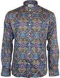 Homme Relco Multicolore Paisley Manche Longue Boutonné 100% Satin Chemise Coton