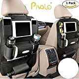 #2: Pivalo PU Leather Car Auto Seat Back Multi Pocket Organizer with iPad mini Holder Backseat Organizer Hanger Accessory Universal Use as Car for Magazines, Toys, Magazines,Tissue Box, Storage Bottles (Black - Pack of 1)