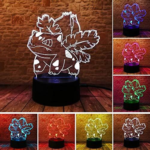 Pikachu Pokeball Bulbasaur Bay Charakter 3D RGB Licht Pokemon Go Action Figure Visuelle Illusion LED Urlaub Weihnachtsgeschenk Nachtlicht (Charaktere Mädchen Pokemon)