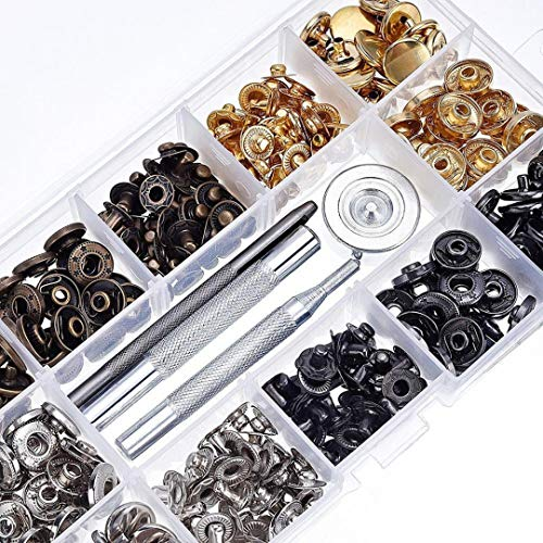 40Set Snap Fastener Kit Button Tool, Leather Snap Button Press Studs with Clothing Snaps Kit Fixing Tools, Metal Snaps for Jeans Wear Jacket Bags Belt Metal Stud Fastener Kit