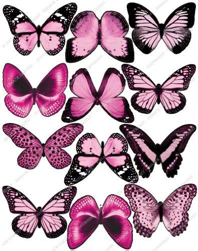 chnittene Hellrosa Essbare Schmetterlingskuchen Topper (Tortenaufleger, Bedruckte Oblaten, Oblatenaufleger) ()