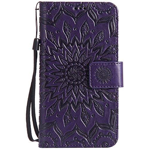 Für Huawei Y625 Fall, Prägen Sonnenblume Magnetische Muster Premium Weiche PU Leder Brieftasche Stand Case Cover mit Lanyard & Halter & Card Slots ( Color : Red ) Purple