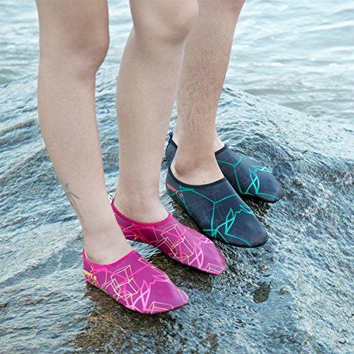 SAGUARO® Damen Herren Badeschuhe Wasserschuhe Aquaschuhe Strandschuhe Schwimmschuhe Surfschuhe Rose Rot