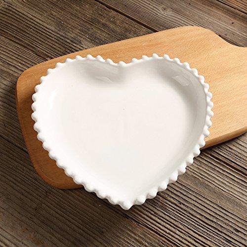 YUWANW Fan Princess Nordic Westlichen Rand Spitze Perlweiß Keramik-Geschirr Frühstück Steak Teller Salatschüssel Flach, Herzförmige Perle Scheibe (Rand Westlichen)
