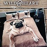 Funda para edredón y almohada de perro carlino funda de edredón acolchada de perro carlino 3D diseño de juego de cama y fundas de almohada ...
