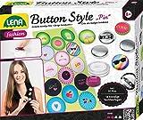 Lena 42566 - Bastelset Button Style Pin, Komplettset für coole Buttons mit 10 Metall Knöpfe, Werkzeug, 14 Textilvorlagen mit tollen Designs und Sprüchen, Mode Styling Set für Kinder ab 8 Jahre