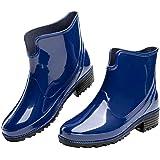 Stivali Pioggia Donna Stivaletti Gomma Giardini Chelsea Bassi Lavoro Antiscivolo Ankle Boots Nero Blu Marrone Cachi Numero 35